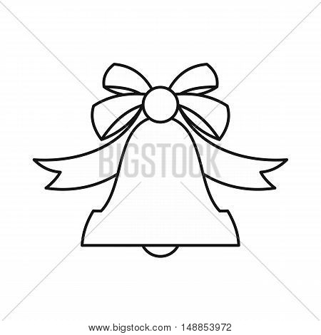 Bell with bow icon in outline style isolated on white background. Ring symbol vector illustration