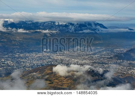 View of Grenoble in the French Alps