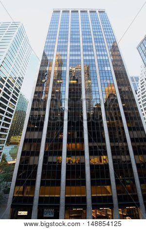 NEW YORK, USA - SEP 07, 2014: Twenty-nine-storey office building on Wall Street in New York City