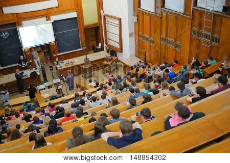 MOSCOW, RUSSIA - MAY 17, 2014: Students at Day of physics in Moscow State University. MSU was founded in 1755