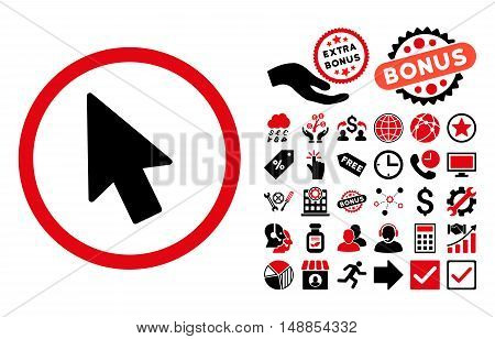 Mouse Pointer pictograph with bonus symbols. Vector illustration style is flat iconic bicolor symbols intensive red and black colors white background.