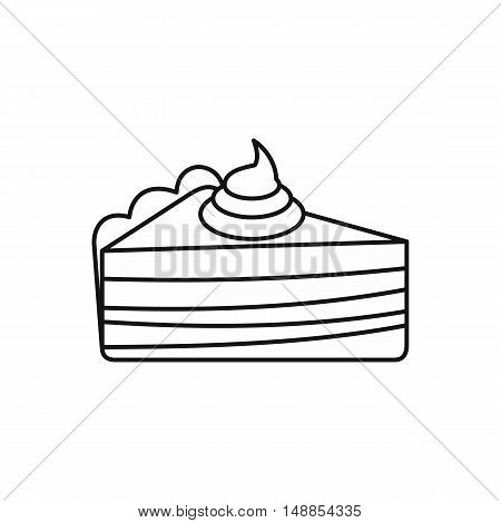 Piece of cake with cream icon in outline style isolated on white background. Food symbol vector illustration