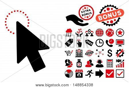 Mouse Pointer pictograph with bonus design elements. Vector illustration style is flat iconic bicolor symbols intensive red and black colors white background.