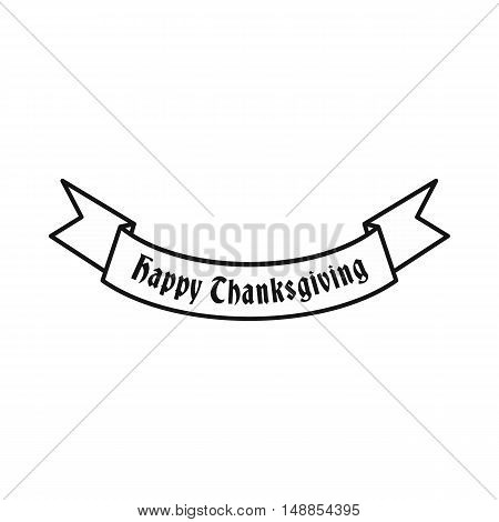 Ribbon happy thanksgiving icon in outline style isolated on white background. Decor symbol vector illustration