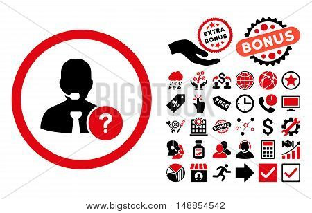 Online Support pictograph with bonus elements. Vector illustration style is flat iconic bicolor symbols intensive red and black colors white background.
