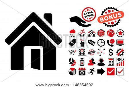 Open House Door pictograph with bonus clip art. Vector illustration style is flat iconic bicolor symbols intensive red and black colors white background.