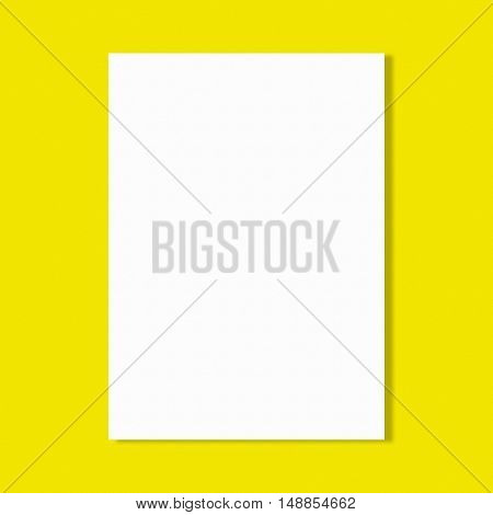Abstract white paper sheet on yellow wall background.