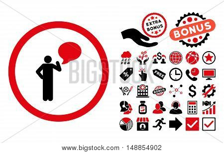 Person Idea icon with bonus symbols. Vector illustration style is flat iconic bicolor symbols intensive red and black colors white background.