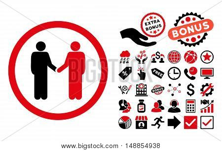 Persons Agreement pictograph with bonus clip art. Vector illustration style is flat iconic bicolor symbols intensive red and black colors white background.