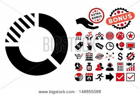 Pie Chart icon with bonus images. Vector illustration style is flat iconic bicolor symbols intensive red and black colors white background.