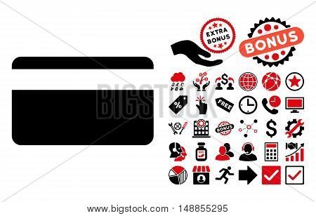 Plastic Card icon with bonus clip art. Vector illustration style is flat iconic bicolor symbols intensive red and black colors white background.