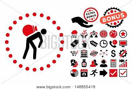 Porter pictograph with bonus clip art. Vector illustration style is flat iconic bicolor symbols intensive red and black colors white background.
