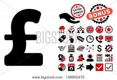 Pound Sterling pictograph with bonus design elements. Vector illustration style is flat iconic bicolor symbols intensive red and black colors white background.