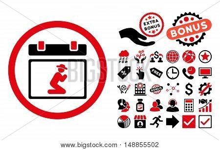 Pray Date pictograph with bonus icon set. Vector illustration style is flat iconic bicolor symbols intensive red and black colors white background.