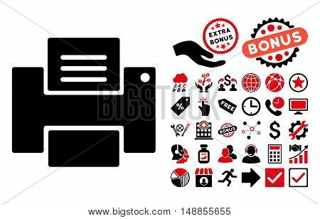 Printer pictograph with bonus elements. Vector illustration style is flat iconic bicolor symbols intensive red and black colors white background.
