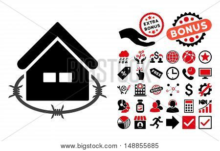 Prison Building pictograph with bonus pictograph collection. Vector illustration style is flat iconic bicolor symbols intensive red and black colors white background.