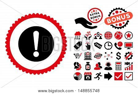 Problem pictograph with bonus elements. Vector illustration style is flat iconic bicolor symbols intensive red and black colors white background.