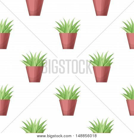 Agava in pot - floral seamless pattern. Vector cute succulent plant on white background. Botanical wallpaper. Green leaf. Nature illustration with mexican houseplant in cartoon style
