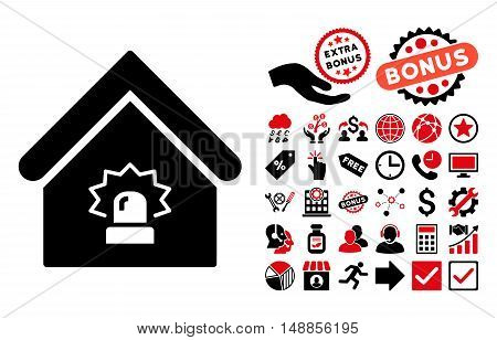 Realty Alarm icon with bonus elements. Vector illustration style is flat iconic bicolor symbols intensive red and black colors white background.