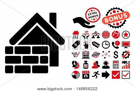 Realty Brick Wall pictograph with bonus pictograph collection. Vector illustration style is flat iconic bicolor symbols intensive red and black colors white background.