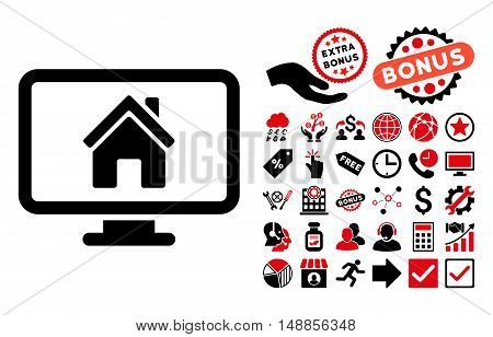 Realty Monitoring pictograph with bonus clip art. Vector illustration style is flat iconic bicolor symbols intensive red and black colors white background.