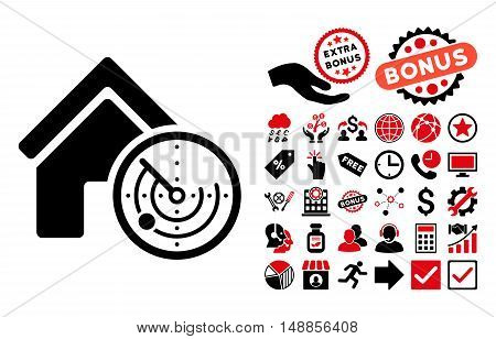 Realty Radar pictograph with bonus images. Vector illustration style is flat iconic bicolor symbols intensive red and black colors white background.