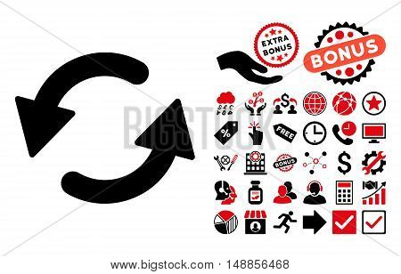 Refresh CCW icon with bonus pictograph collection. Vector illustration style is flat iconic bicolor symbols intensive red and black colors white background.