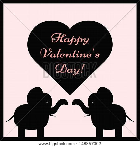 A couple elephants and a heart with the text Happy Valentine's Day! Greeting card color.