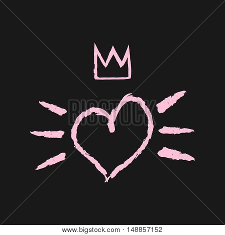 Silhouette of the heart crown and brush strokes. Grunge broken rough. Black pink.
