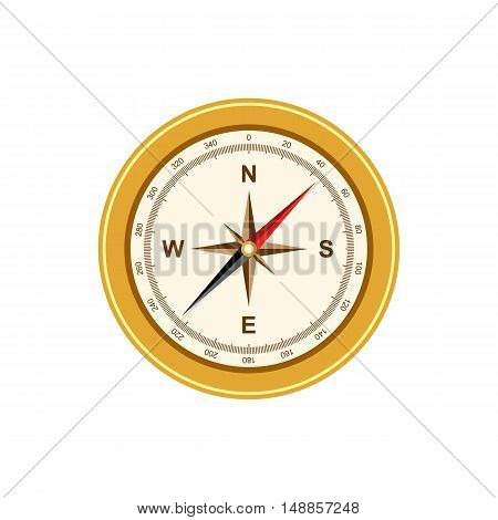 Compass antique retro style isolated on white background vector illustration