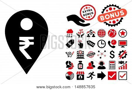 Rupee Map Marker pictograph with bonus icon set. Vector illustration style is flat iconic bicolor symbols, intensive red and black colors, white background.