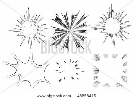 Six vector illustrated comic book style explosions on white background.