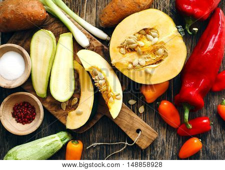 Preparing autumn vegetables for cooking, top view