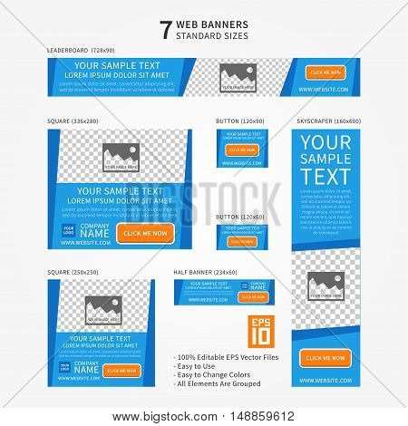 Vector business standard size Web Banners Set. Modern design concept for corporate website advertising with place for photo.