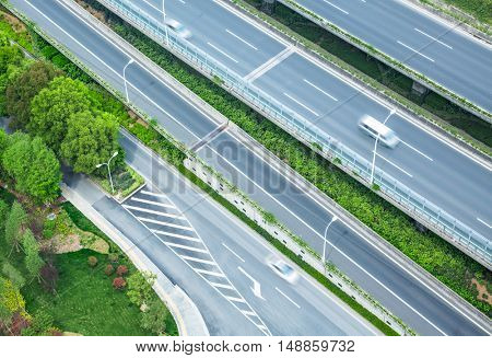 aerial view of cars on highway,shanghai,china.