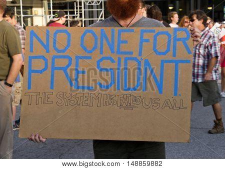 Asheville, North Carolina, USA: September 12, 2016: Close up of a protester's sign at a Donald Trump Rally saying