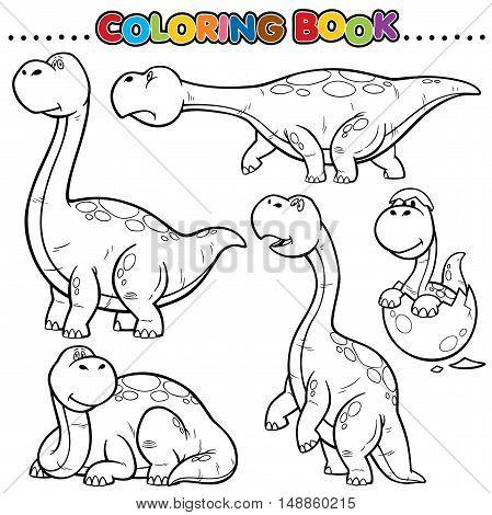 Vector Cartoon Animals Coloring Book - Dinosaurs