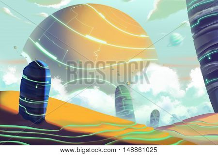 Fantastic and Exotic Allen Planet's Environment and Landscape. Video Game's Digital CG Artwork, Concept Illustration, Realistic Cartoon Style Background
