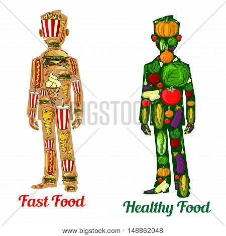 Healthy diet nutrition vs fast food. Human body icons with symbol of vegetables tomato, potato, pepper, radish, cabbage, pumpkin, corn, onion and cheeseburger, hot dog, sandwich, french fries, soda, pizza ice cream