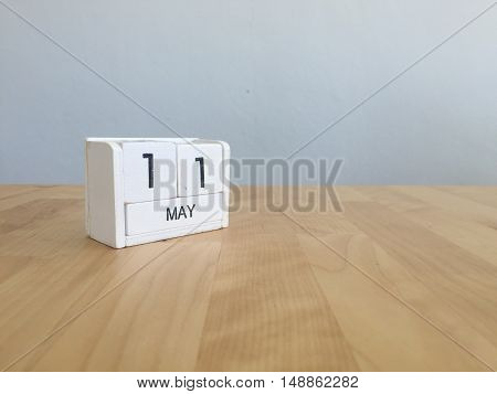 May 11Th.may 11 White Wooden Calendar On Vintage Wood Abstract Background.spring Day.copyspace For T