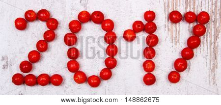 Happy New Year 2017 Made Of Red Viburnum On Old Wooden Background