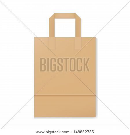 Blank realistic paper bag mockup. Vector illustration