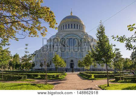 Naval Cathedral of St. Nicholasin Kronstadt at Sunny day Russia