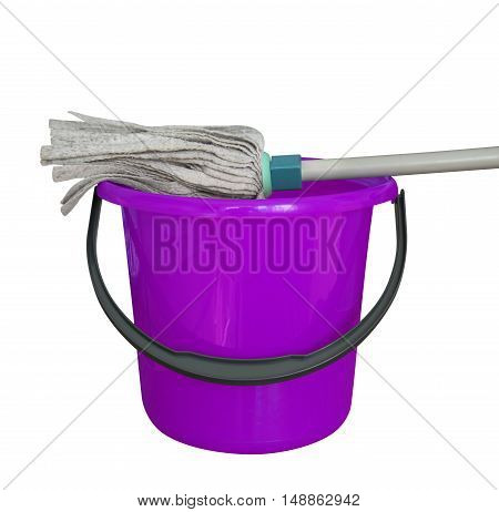 Violet bucket with cleaning mop isolated on a white background. Clipping path included.