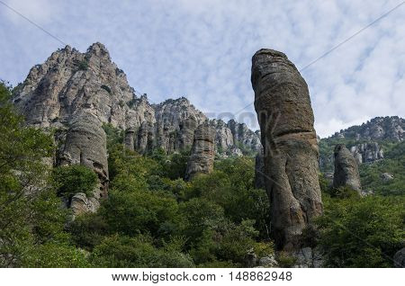 The Rock Formations Of The Demerdji Mountain. Valley Of Ghosts. Landscape Of Crimea, Russia. Ukraine