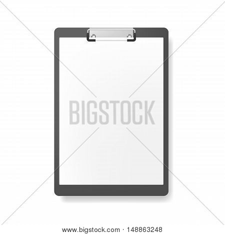 Realistic clipboard folder with blank white sheet of paper mockup