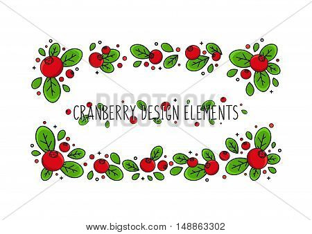 Cranberry line art vector illustration. Cranberry design elements creative concept. Graphic design for poster banner placard. Template layout with text and berries.