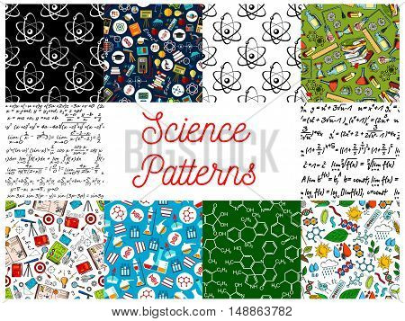 Science backgrounds with patterns. Seamless wallpaper with icons of formula, microscope, telescope, atom, dna, chemicals, substance, gene, molecule, globe, proton magnet calculator lamp Mathematics physics chemistry symbols