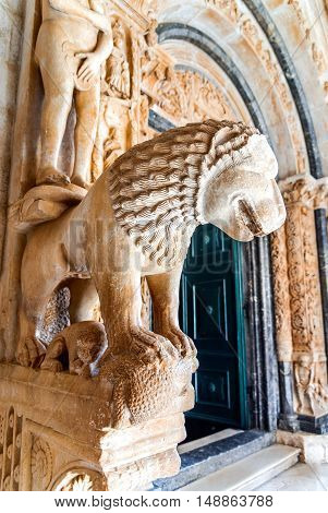 Trogir Croatia. Lawrence Cathedral middle Dalmatia medieval architecture (Historical Trogir is on UNESCO World Heritage List since 1997)