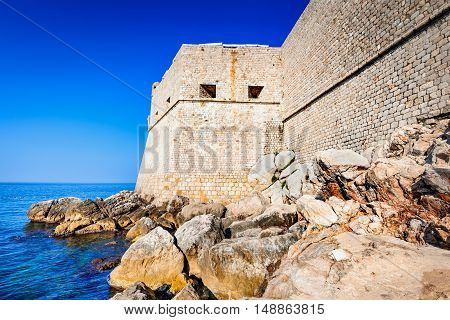 Dubrovnik Croatia. Spectacular picturesque view on the old town of Ragusa Dalmatia.